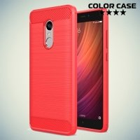 Жесткий силиконовый чехол для Xiaomi Redmi Note 4 / 4X с карбоновыми вставками - Коралловый