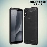 Жесткий силиконовый чехол для Xiaomi Redmi Note 5 / 5 Pro с карбоновыми вставками - Черный