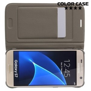 Тонкий чехол книжка для Samsung Galaxy S7 - Золотой