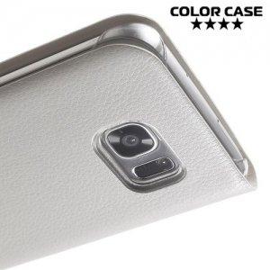 Тонкий чехол книжка для Samsung Galaxy S7 Edge - Белый