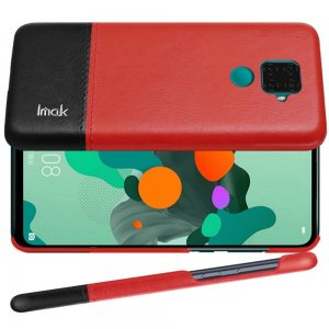 Тонкий Пластиковый PU Кожаный Кейс Накладка для Huawei Mate 30 Lite Красный / Черный