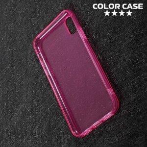 Тонкий силиконовый чехол для iPhone Xs / X - Розовый