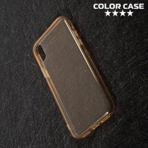 Тонкий силиконовый чехол для iPhone Xs / X - Золотой