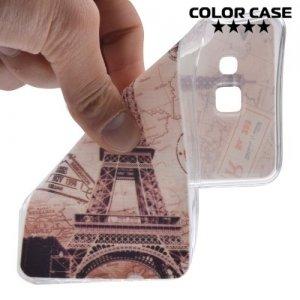 Тонкий силиконовый чехол для Samsung Galaxy A3 2016 SM-A310F - с рисунком Париж