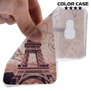 Тонкий силиконовый чехол для Samsung Galaxy A7 2016 SM-A710F - с рисунком Париж