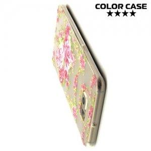 Тонкий силиконовый чехол для Samsung Galaxy S6 Edge Plus - с рисунком Розы