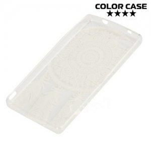 Тонкий силиконовый чехол для Sony Xperia Z5 Compact E5823 - с рисунком Ловец снов белый