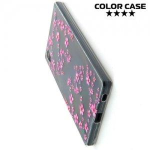 Тонкий силиконовый чехол для Sony Xperia Z5 - с рисунком Сакура
