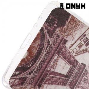 Тонкий силиконовый чехол для Sony Xperia Z3+ с орнаментом Эйфелева башня