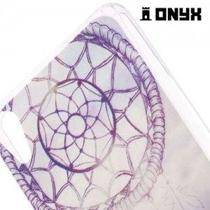 Тонкий силиконовый чехол для Sony Xperia Z3+ с орнаментом Ловец снов