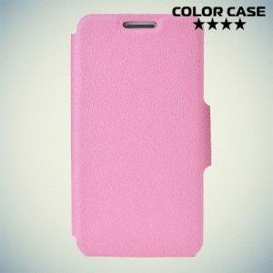 Чехол книжка для телефона 5.0-5.3 дюйма универсальный - розовый