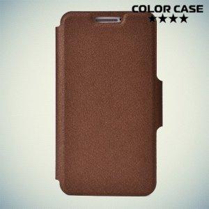 Чехол книжка для телефона 4.1-4.3 дюйма универсальный - коричневый