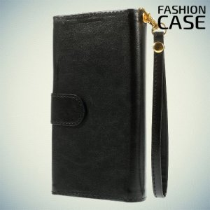 Универсальный чехол кошелек для смартфона с ремешком на руку, магнитной застежкой и отделениями для карт и купюр - Черный