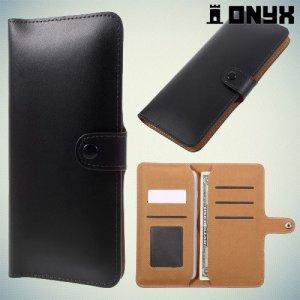 Универсальный чехол кошелек из гладкой экокожи с фиксацией обложки на кнопку для телефона 5.5 дюймов - Черный