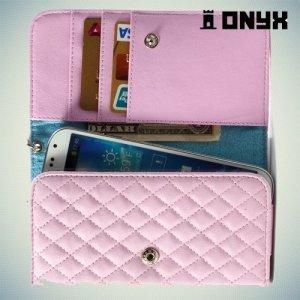Универсальный чехол футляр сумочка для телефона Ромбус - розовый