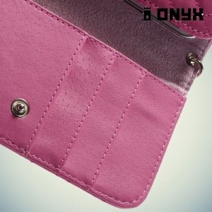 Универсальный чехол футляр сумочка для телефона Ромбус - ярко розовый