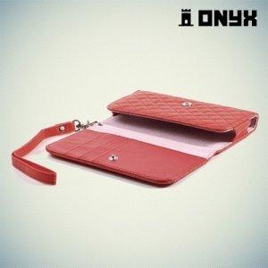 Универсальный чехол футляр сумочка для телефона Ромбус - красный