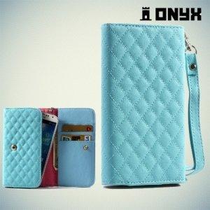 Универсальный чехол футляр сумочка для телефона Ромбус - голубой