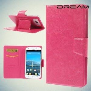 Универсальный чехол книжка для телефона 5.3–5.7 дюйма - Розовый