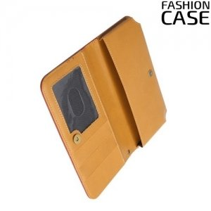 Универсальный чехол кошелек сумочка для телефона 6 дюймов - коричневый