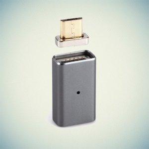 Универсальный магнитный адаптер MicroUSB - Серебристый