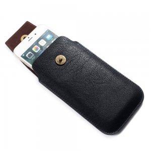 Универсальный вертикальный чехол кобура для телефона 5.5 / 6.5 дюймов с креплением на ремень и магнитной застежкой - Черный
