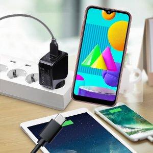 Зарядка для Samsung Galaxy M01 телефона 2.4А и USB кабель