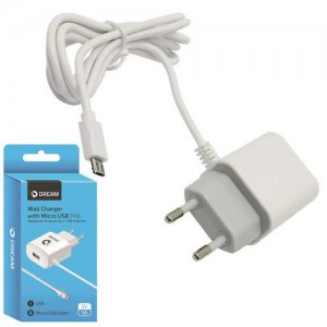 Зарядка для телефона с кабелем microUSB 1 Ампер и 1 USB Dream PA6