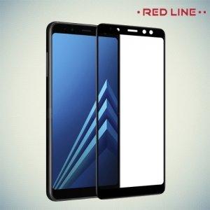 Защитное стекло Full Glue для Samsung Galaxy A8 2018 - Черное Red Line