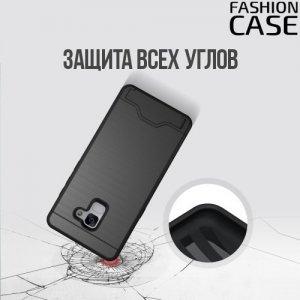 Защитный чехол для Samsung Galaxy A8 2018 с подставкой и отделением для карты - Черный