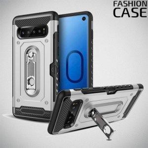 Защитный чехол для Samsung Galaxy S10e с подставкой и отделением для карты - Черный