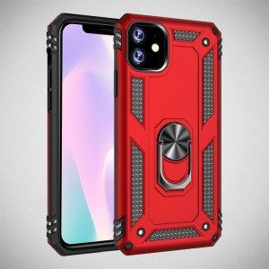 Защитный чехол с поворотной подставкой для iPhone 11 Pro - Красный