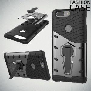 Защитный чехол с поворотной подставкой для OnePlus 5T - Серый