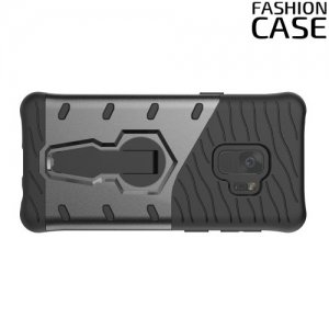 Защитный чехол с поворотной подставкой для Samsung Galaxy S9 - Серый