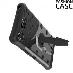 Защитный чехол с поворотной подставкой для Sony Xperia XZ1 Compact - Серый