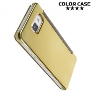 Зеркальный чехол книжка ColorCase с функцией Clear View Cover для Samsung Galaxy A5 2016 - Золотой