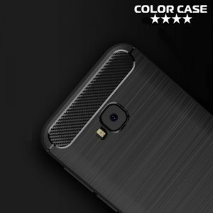 Жесткий силиконовый чехол для Asus Zenfone 4 Selfie Pro ZD552KL с карбоновыми вставками - Коралловый