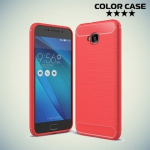 Жесткий силиконовый чехол для Asus Zenfone 4 Selfie ZD553KL / Live ZB553KL с карбоновыми вставками - Коралловый