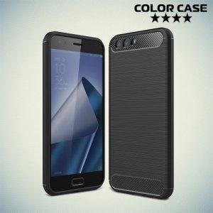 Жесткий силиконовый чехол для Asus Zenfone 4 ZE554KL с карбоновыми вставками - Черный