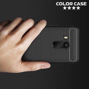 Жесткий силиконовый чехол для HTC U11 EYEs с карбоновыми вставками - Черный