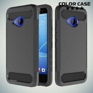 Жесткий чехол для HTC U11 Life с карбоновыми вставками - Черный