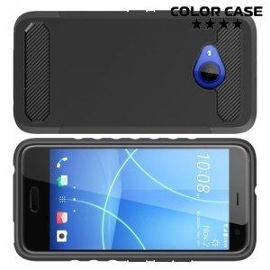 Жесткий силиконовый чехол для HTC U11 Life с карбоновыми вставками - Черный