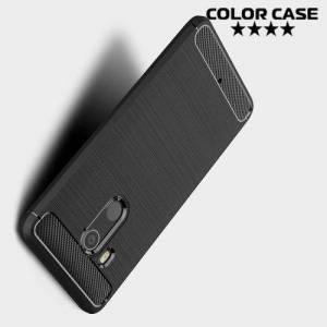 Жесткий силиконовый чехол для HTC U11 Plus с карбоновыми вставками - Черный