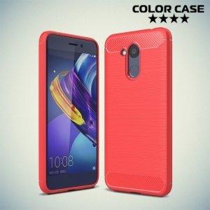 Жесткий силиконовый чехол для Huawei Honor 6C Pro с карбоновыми вставками - Коралловый