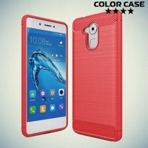 Жесткий силиконовый чехол для Huawei Honor 6C с карбоновыми вставками - Коралловый