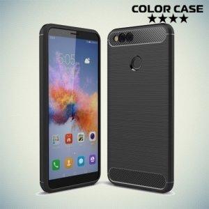 Жесткий силиконовый чехол для Huawei Honor 7X с карбоновыми вставками - Черный