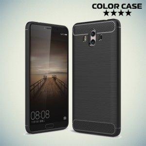 Жесткий силиконовый чехол для Huawei Mate 10 с карбоновыми вставками - Черный