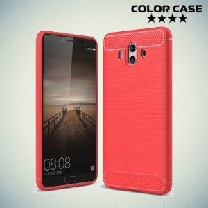 Жесткий силиконовый чехол для Huawei Mate 10 с карбоновыми вставками - Коралловый