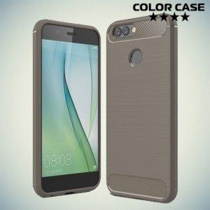 Жесткий силиконовый чехол для Huawei Nova 2 с карбоновыми вставками - Серый
