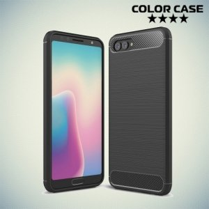 Жесткий силиконовый чехол для Huawei Nova 2s с карбоновыми вставками - Черный